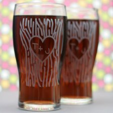Etched pint glasses by Glass Blasted Weddings
